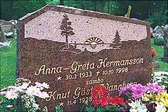 Gravsten granit polerad med finhuggen yta vid ornament och  guldtext