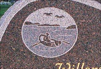 Ornament roddare på hav med kobbar Bohusgranit polerad finnhuggen och skuggad yta