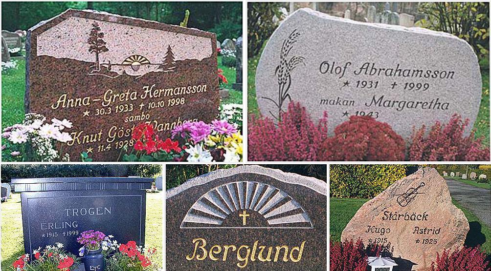 Olika stilar på gravstenar.